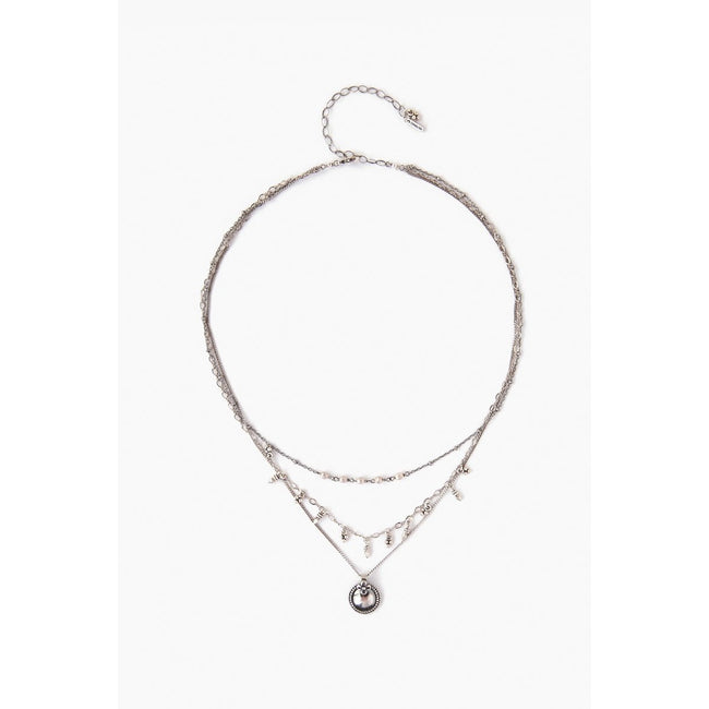 Sterling Silver Pearl Layered Pendant Necklace