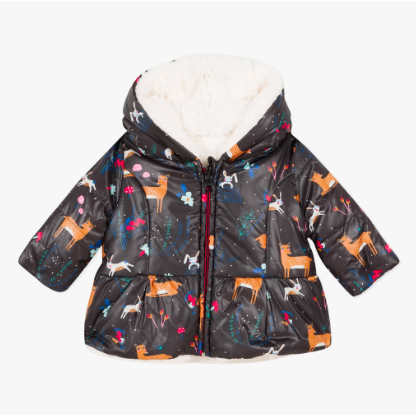 Reversible Coated & Faux Fur Parka - Black Deer