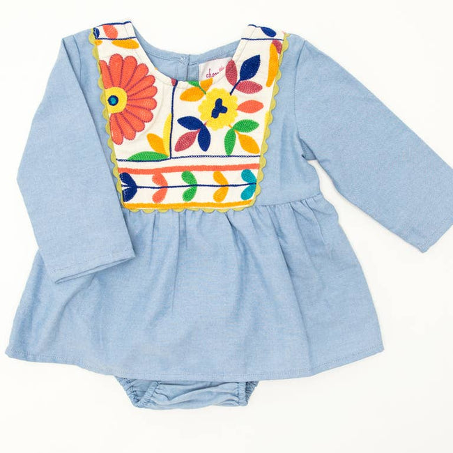 Joya Baby Dress & Bloomer - Chambray