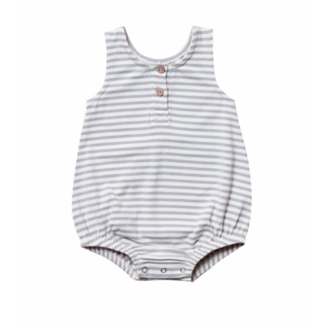 Organic Jersey Sleeveless Bubble Onesie - Grey Stripe