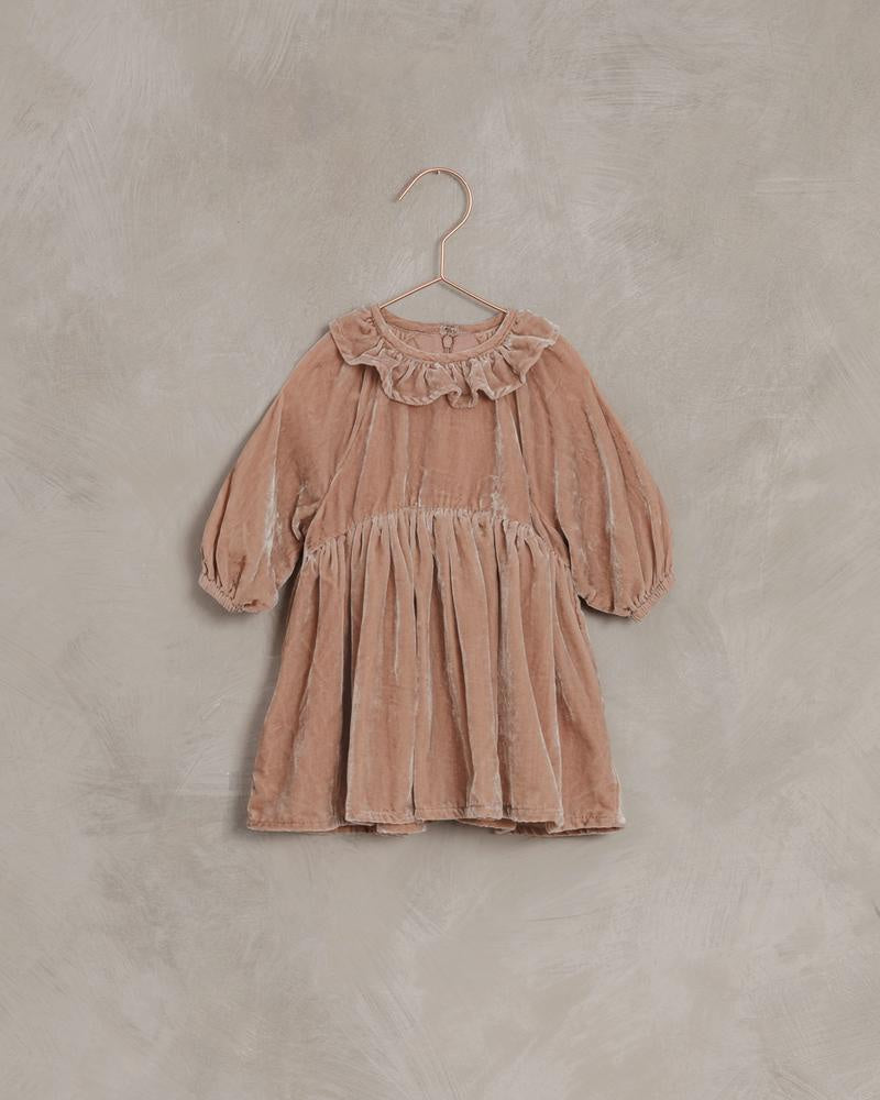 Adeline Velvet Dress - Dusty Rose