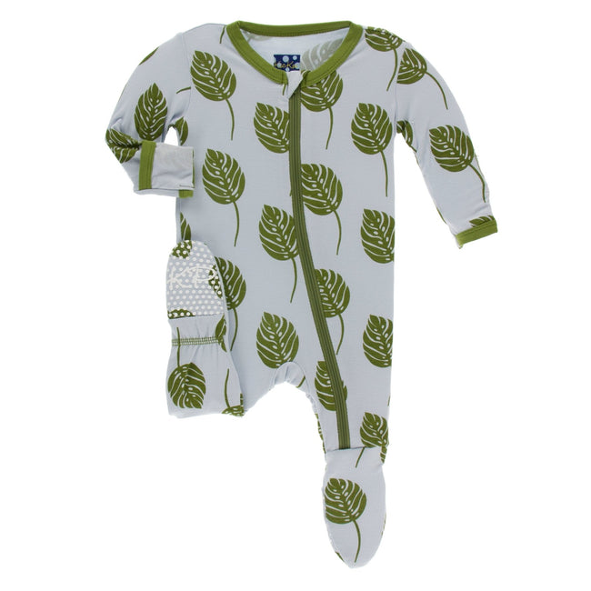 Print Footie with Stripe - Dew Philodendron