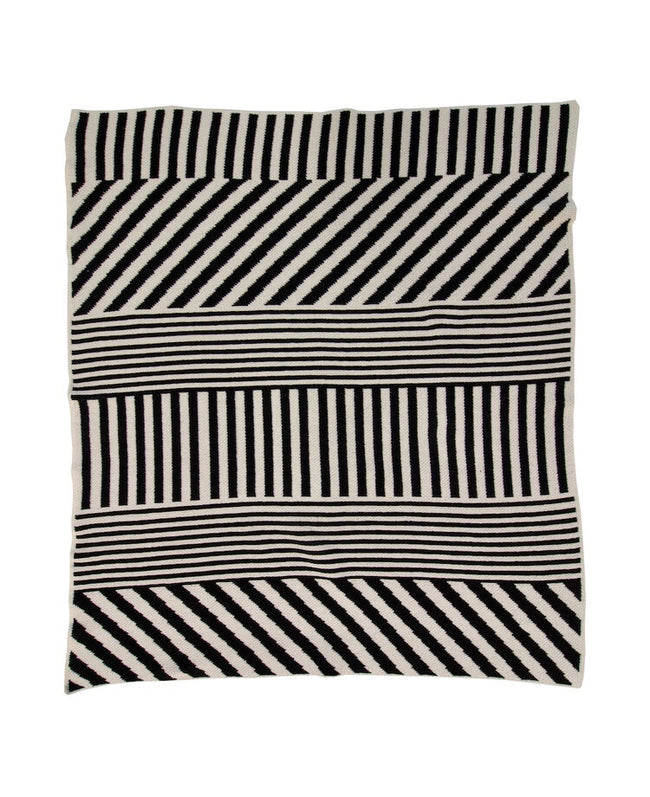 Mixed Up Stripes Mini Blanket - Black