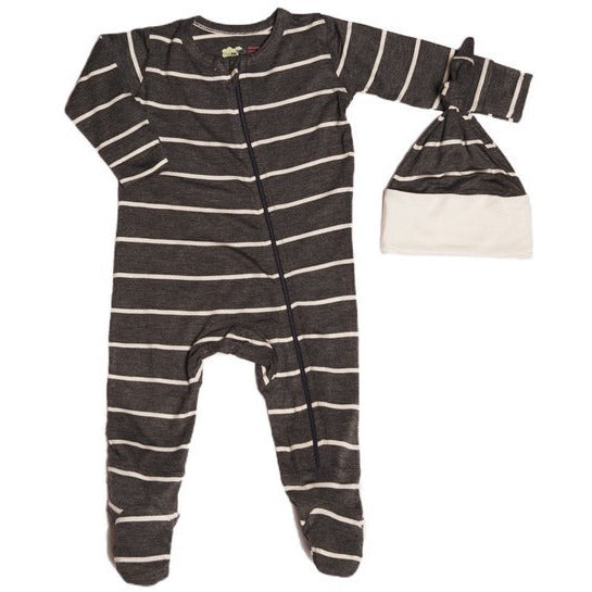Zipper Footie & Hat Set - Charcoal Stripe