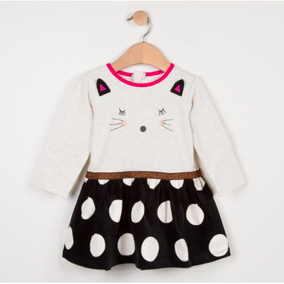 Kitty Face Polka Dot Dress