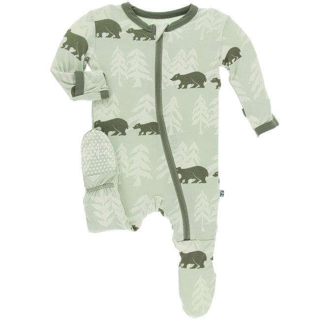 Print Footie with Zipper - Aloe Bears and Tree Line