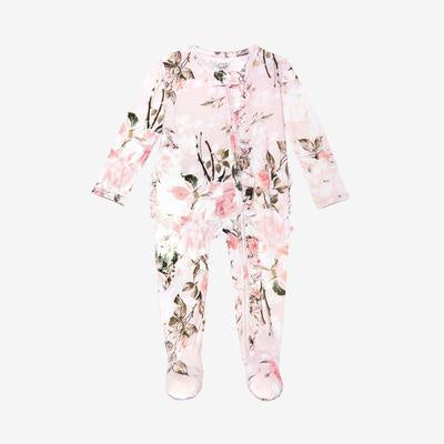 Ruffle Zipper One Piece Footie - Vintage Pink Floral