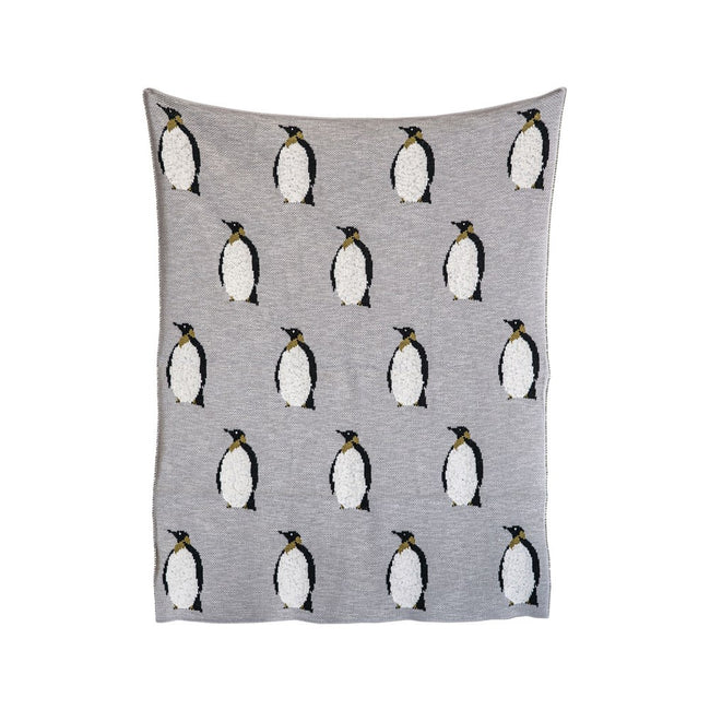 Cotton Knit Pattern Blanket - Penguins