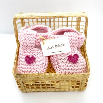 Heart Booties in a Basket