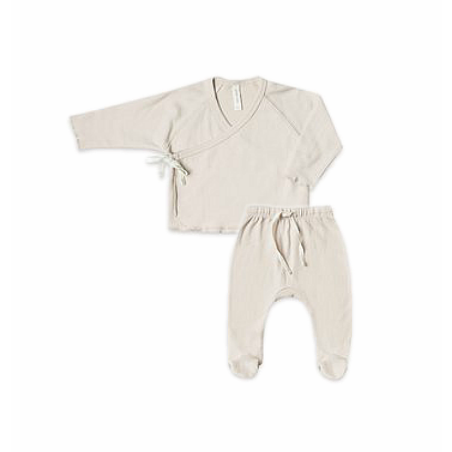 Organic Jersey Kimono Top and Footed Pant - Bone