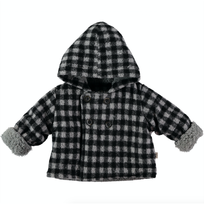 Fleece Button Up Coat - Navy Check