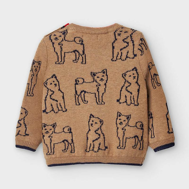 Dog Motif Sweater - Almond