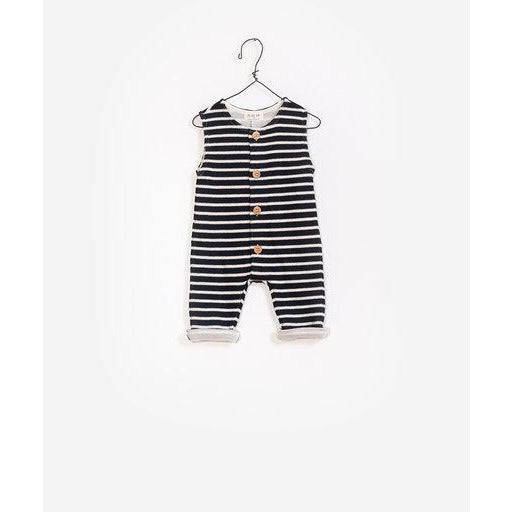 Sleeveless Stripe Jumpsuit - Black & White