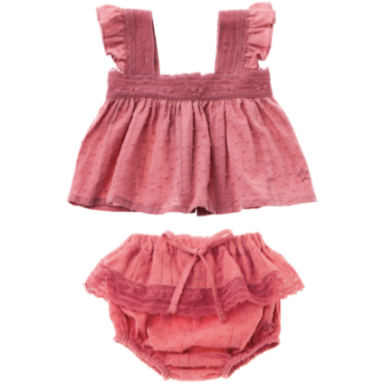 Ruffle & Lace Blouse & Bloomer Set - Pink