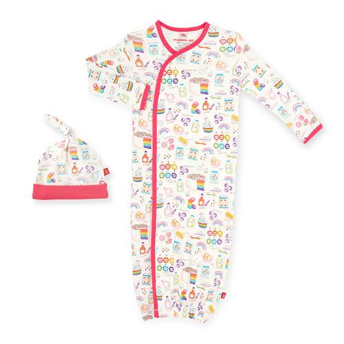 Rainbow Sprinkles Organic Cotton Magnetic Gown Set