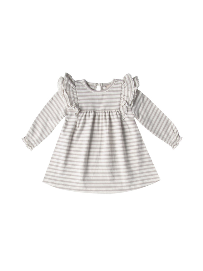 Longsleeve Flutter Dress - Fog Stripe