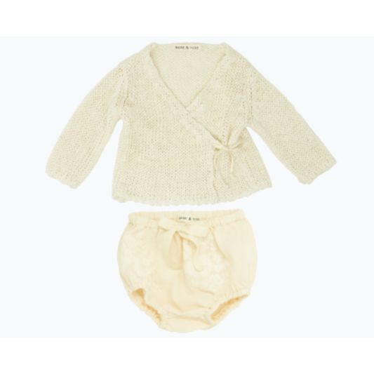 Wrap Sweater & Bloomer Set - Apricot