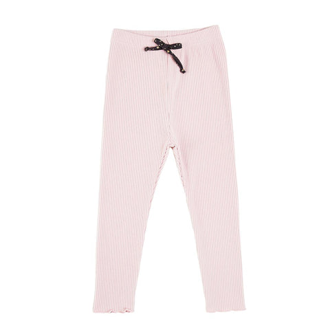 Ribbed Legging with Ruffle - Pink