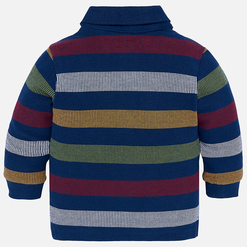 Long Sleeve Striped Polo Shirt