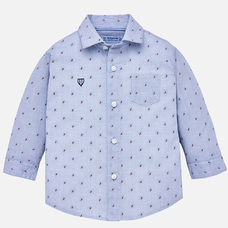 Micro-Dot Long Sleeve Collared Shirt