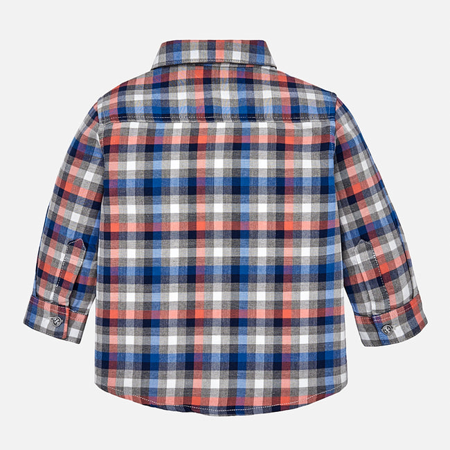 Checked Long Sleeve Collared Shirt