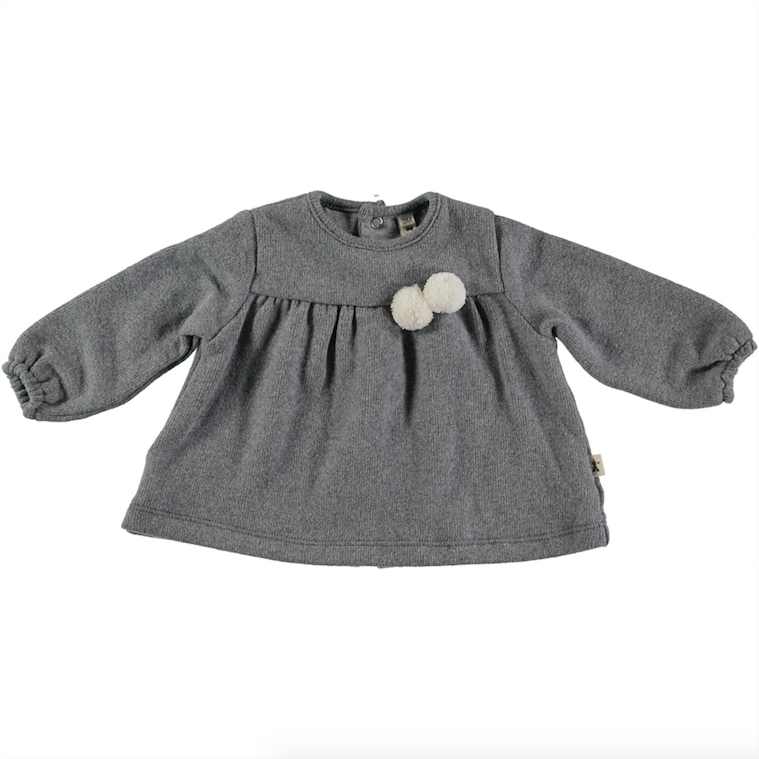 Pom Pom Long Sleeve Top - Gray