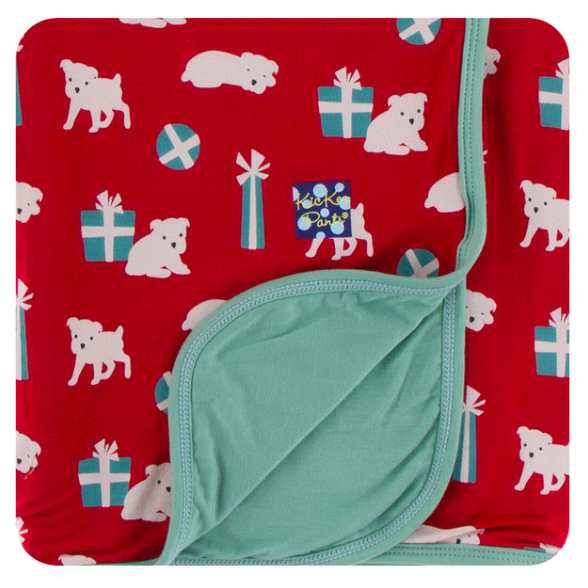 Print Swaddle Blanket - Crimson Puppies & Presents
