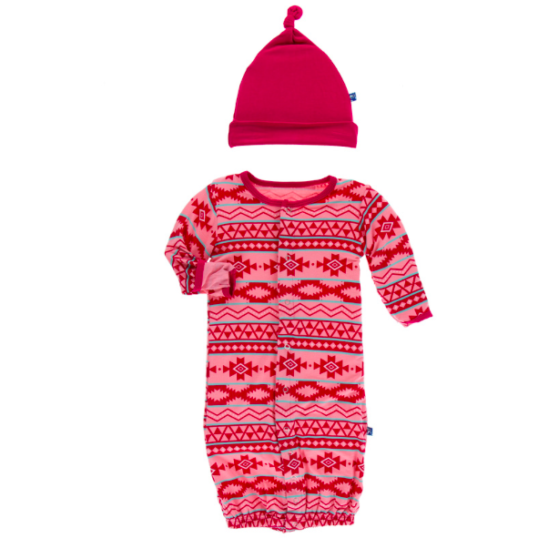 Gown & Single Knot Hat Set - Strawberry Mayan
