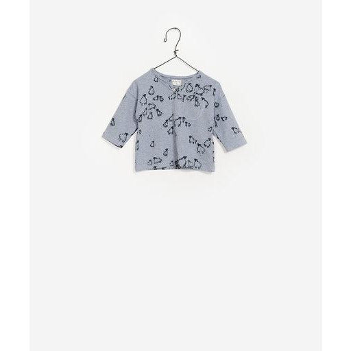 Printed Long Sleeve Top - Blue Sheep