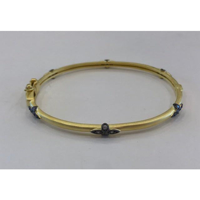Embellished Lock Bracelet - Brushed Gold