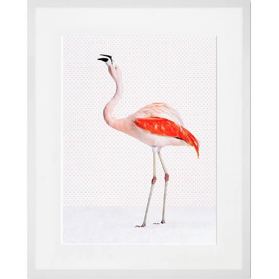 White Framed Flamingo on Dots Art Print - 23x29