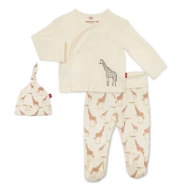 Cream Jolie Giraffe Organic Cotton Magnetic 3-Piece Kimono Set