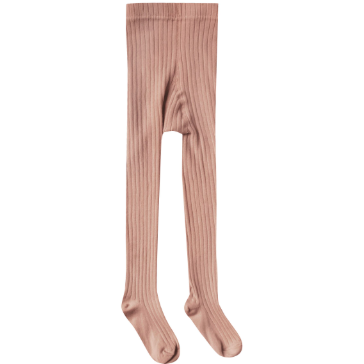 Solid Ribbed Tights - Truffle