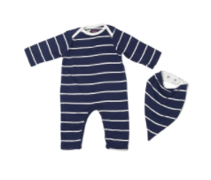 Romper & Bib Set - Navy