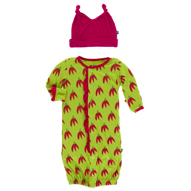 Ruffle Gown & Double Knot Hat Set - Meadow Chili Peppers