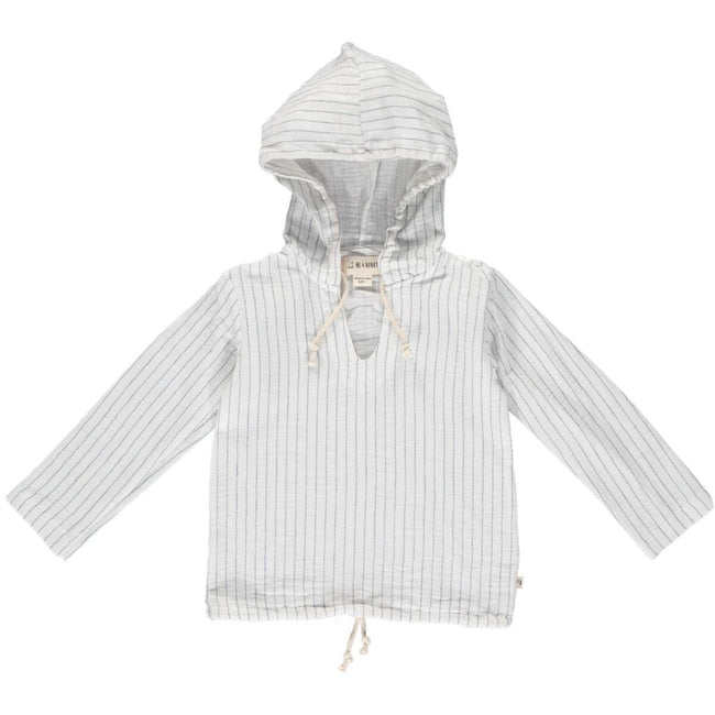 Gauze Hooded Top -  White