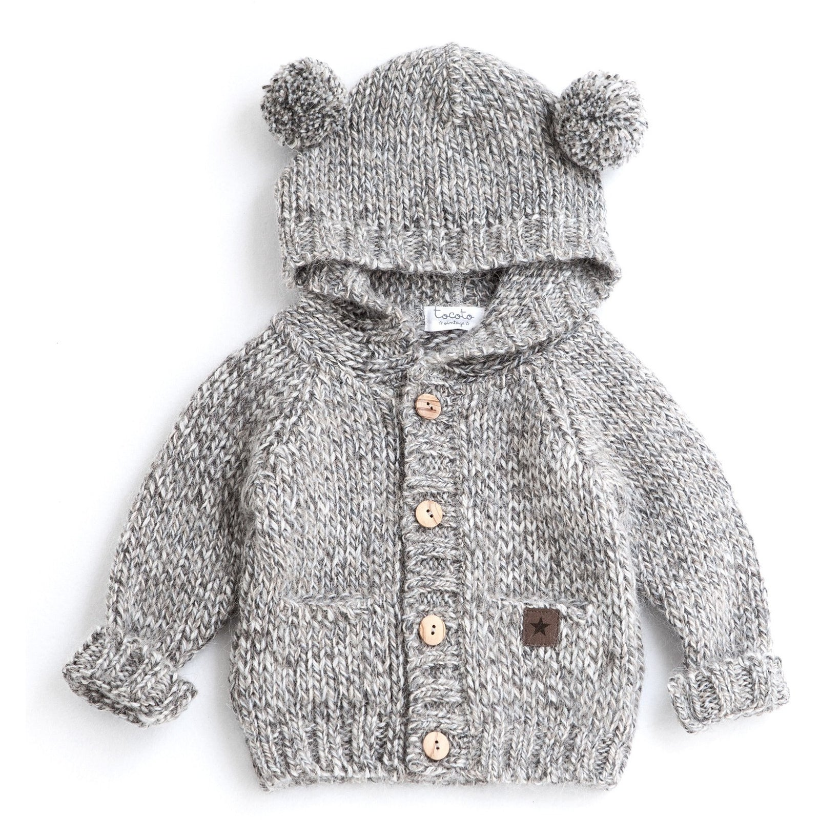 Knitted Bear Jacket - Grey