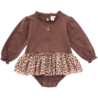 Ruffle Neck Jersey Bodysuit with Skirt - Animal Print