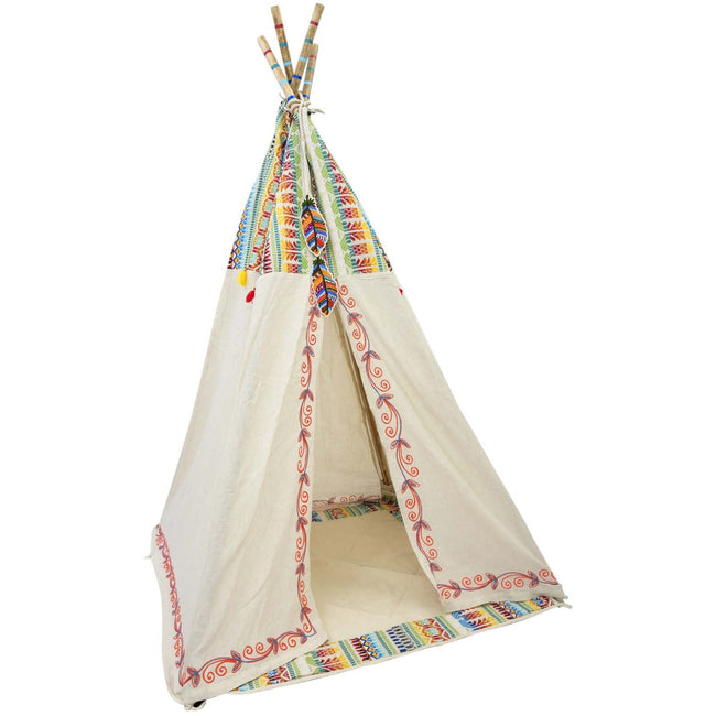 "Feathers Embroidered TeePee - 37"" x 72"""