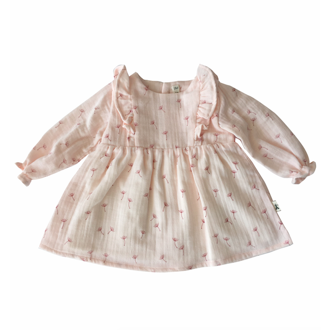 Organic Cotton Ruffle Poppy Dress - Pink