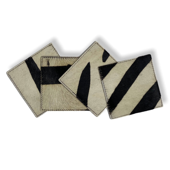 Cowhide Coasters - Set of 4 - Zebra