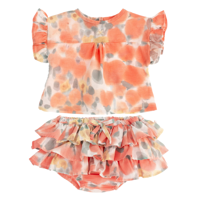 Flower Print Ruffle Bloomer & Tee Set