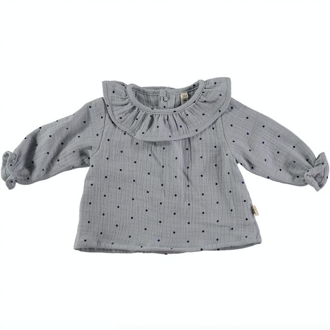 Cotton Ruffle Polka Dot Blouse - Gray & Black
