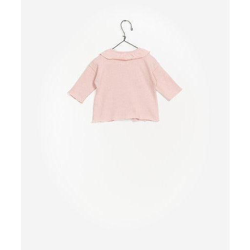 Ruffle Collar Long Sleeve Top - Light Pink