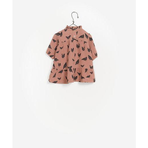 Printed Long Sleeve Dress - Rose Chicken