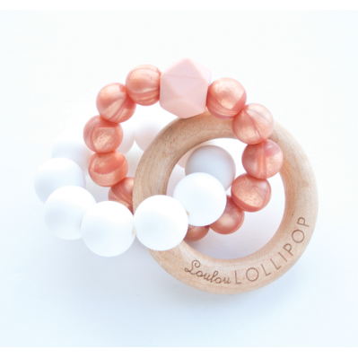 Trinity Wood & Silicone Teether - Rose Gold