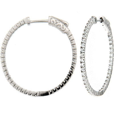 Medium DiamLock Hoop Earrings - Silver