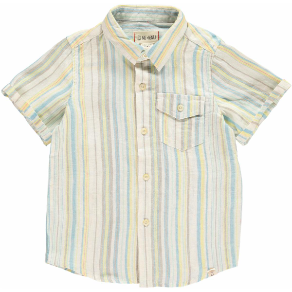 Striped Linen Shirt - Yellow