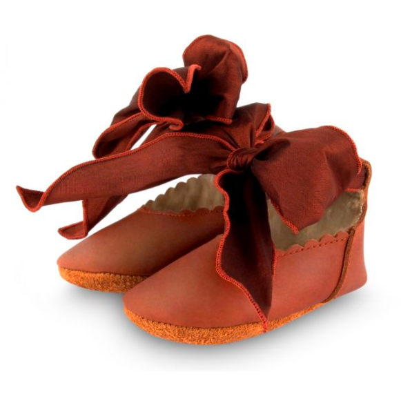 Lieve Lining Flats - Cognac Classic Leather & Mahogany Roughened Silk