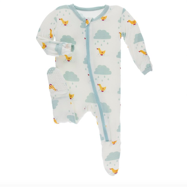 Print Footie with Zipper - Natural Puddle Duck